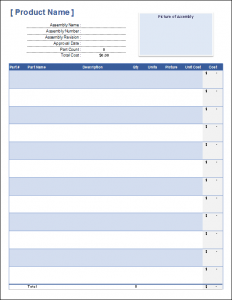 free Bill Of Materials Template