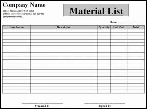 Bill Of Materials Template excel bom material parts product order