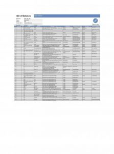 Bill Of Materials Template bom material parts free product word inventory rights reeserved