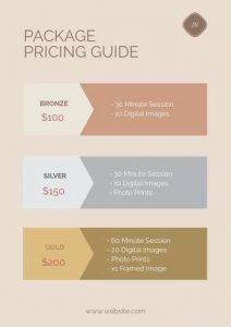 design list templates with products prices