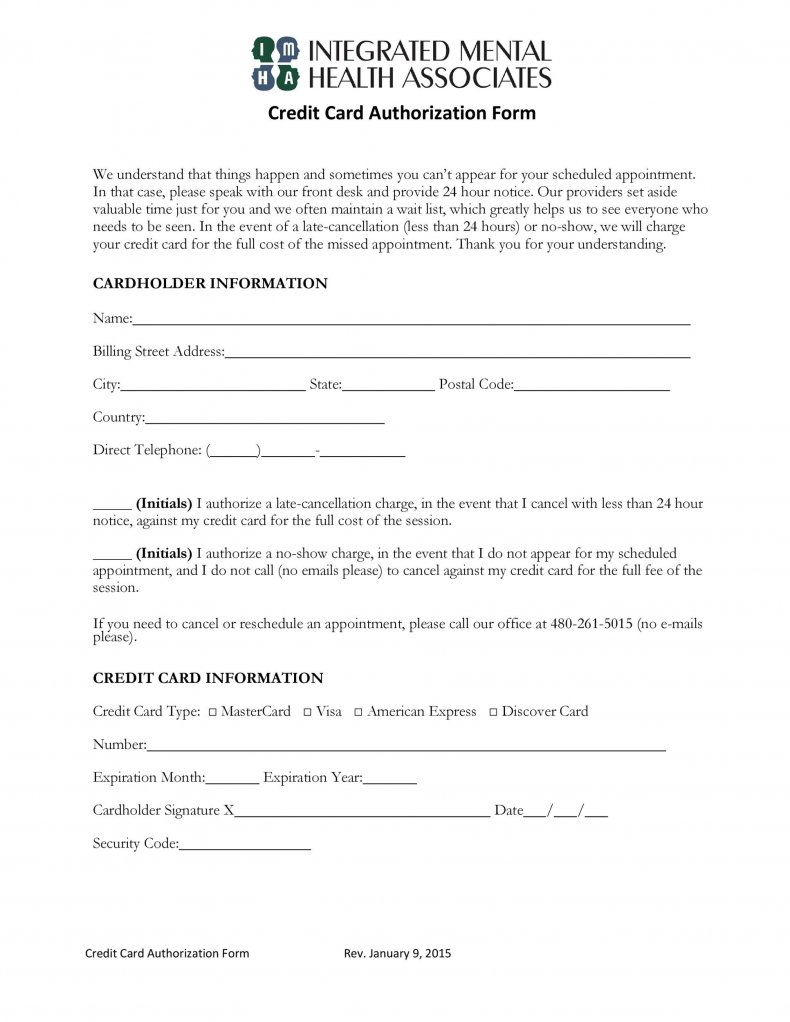 authorization form a credit card