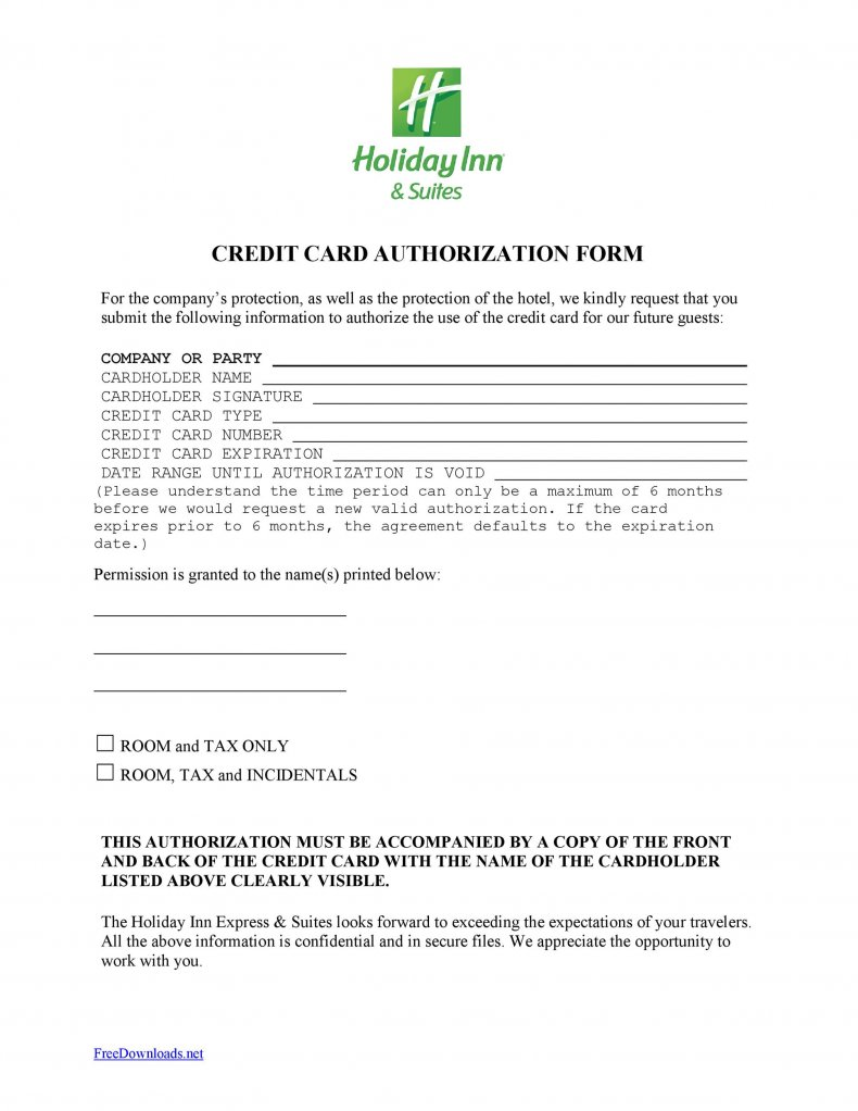 credit card authorization form with billing address