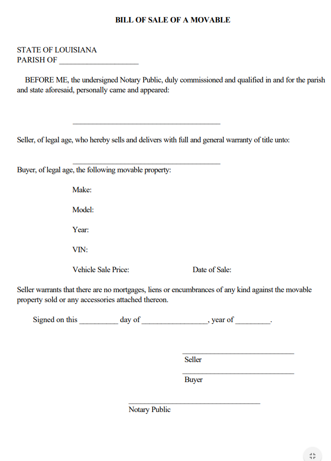 make sure to include bill of sale form south dakota