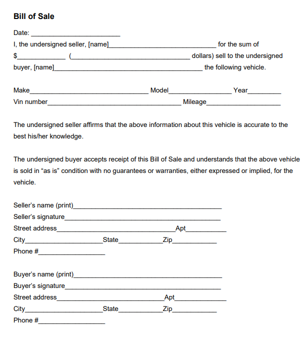motor vehicle bill of sale form with odometer disclosure statement