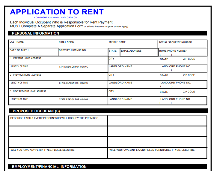 california rental lease