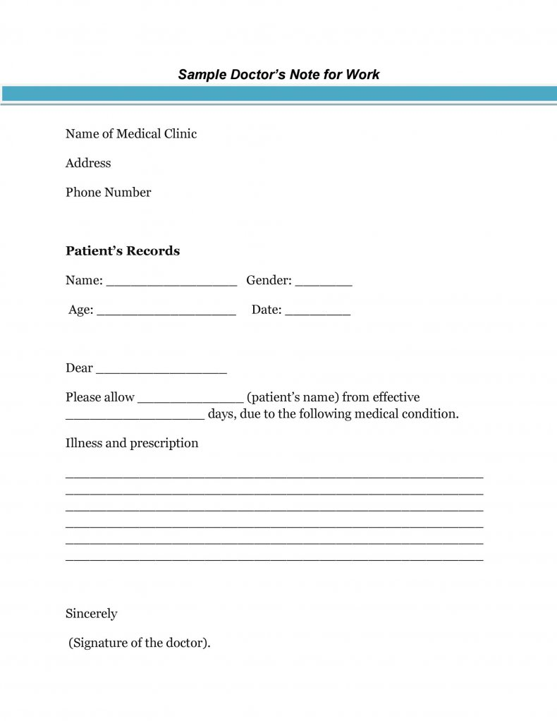fake doctor's note