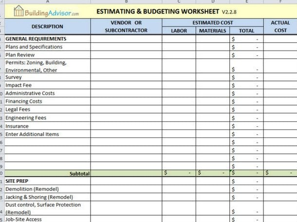 11+ Free Construction Estimate Template Excel Word!