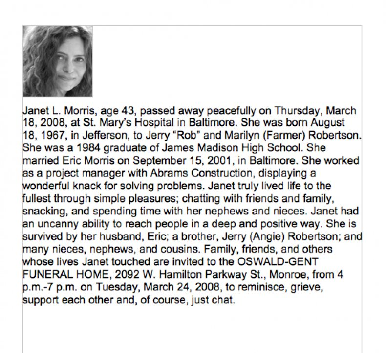 free Obituary template with picture