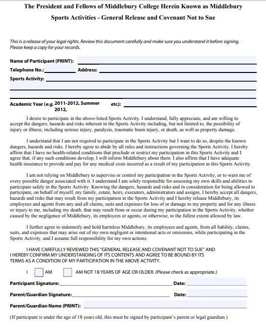 general release of liability form