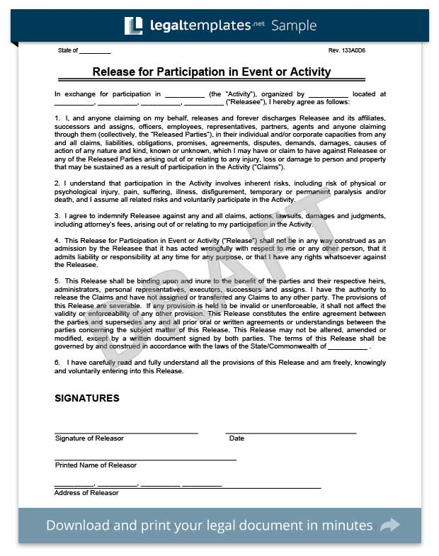 two parties release of liability form