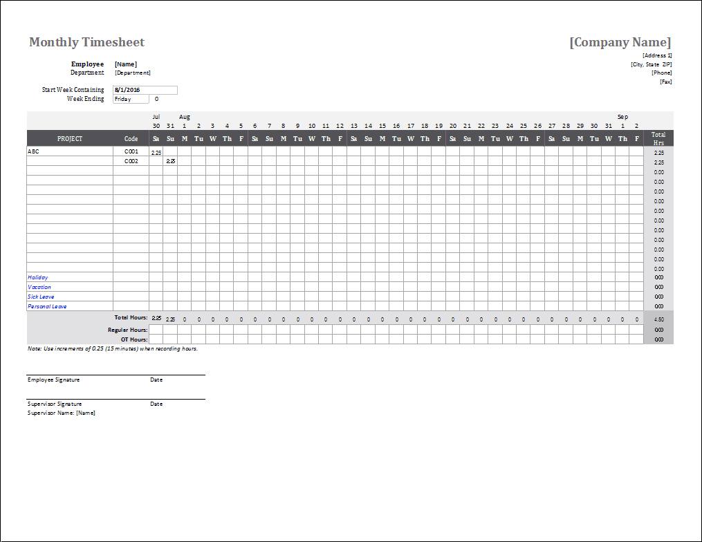 time log template for time tracking word