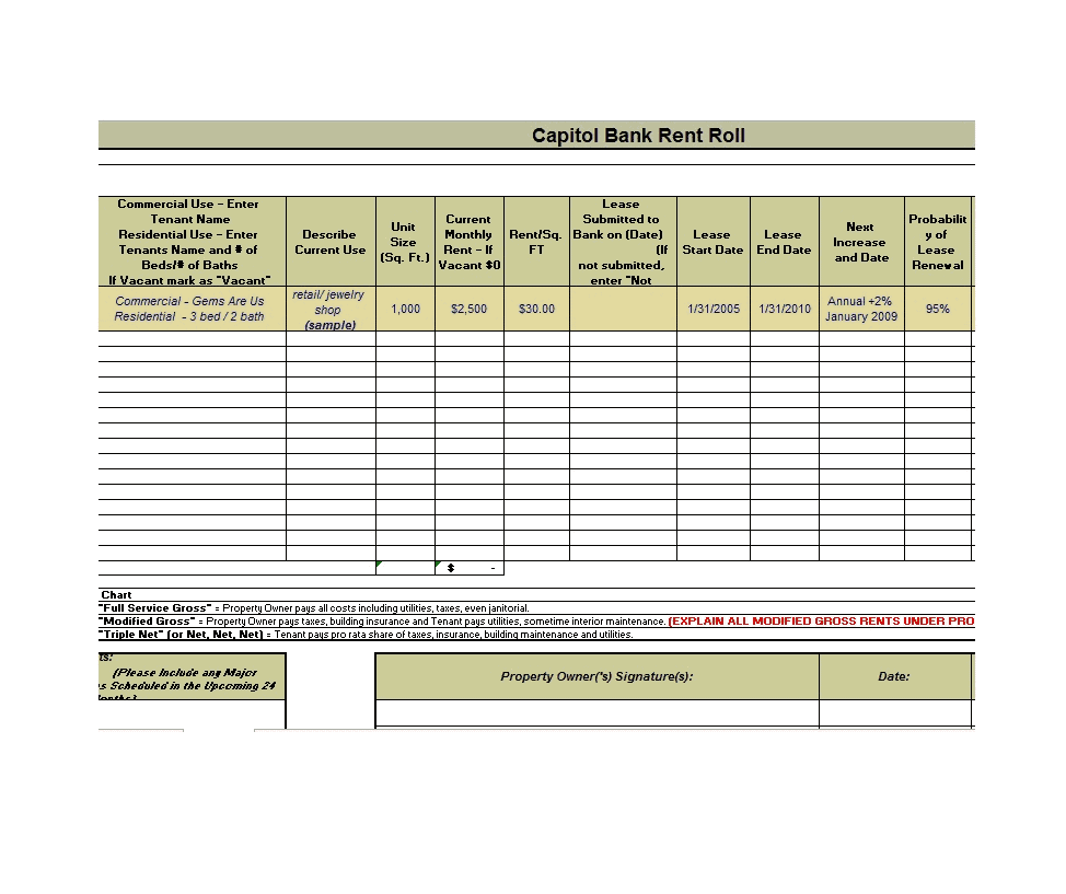 11 Rent Roll Template Editable Free Download Word Pdf