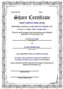 free stock certificate templates