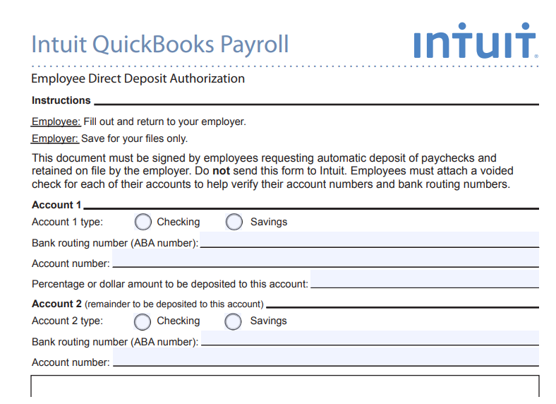 Quickbooks Direct Deposit Form