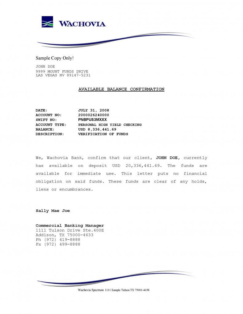 official bank statement funds letter templates