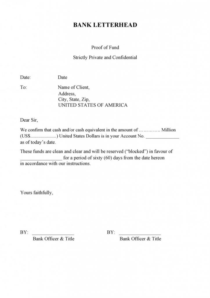 proof of funds letter - bank certified financial statement