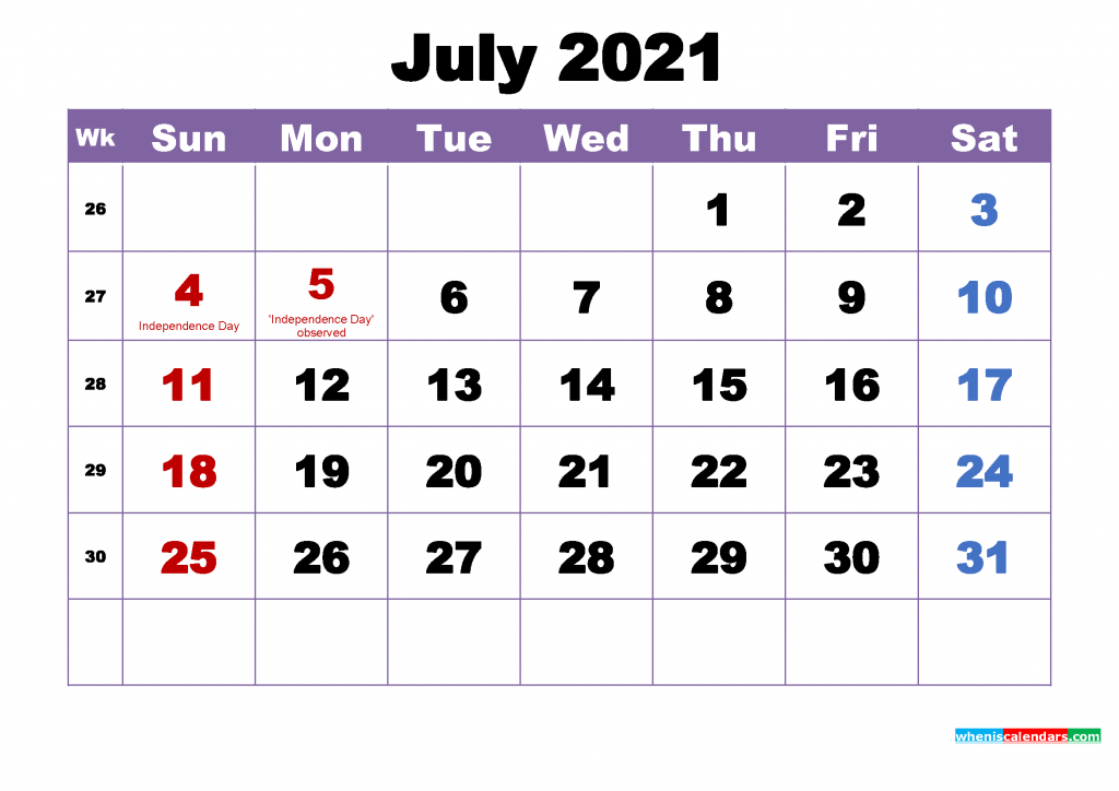 July calendar 2021 with Holidays